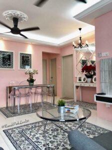 dekorasi apartment ppa1m (1000sqft). tema pink pastel yang